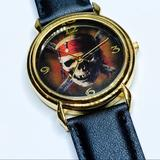 Disney Accessories | Disney Pirates Of The Caribbean Wrist Watch | Color: Black/Gold | Size: Os