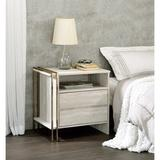 Willa Arlo™ Interiors Dayana 2 - Drawer Nightstand in Antique White/Gold Wood in Black/Brown/White, Size 24.0 H x 24.0 W x 17.0 D in   Wayfair