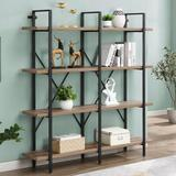 17 Stories Double Wide 4-Tier Bookcase Storage Organizer, Industrial Large Open Metal Bookshelf Furniture, Etagere For Home & Office, Vintage Wood
