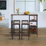17 Stories 5 Piece Counter Height Dining Table Set, Industrial Style Bar Pub Table w/ 4 Backless Bar Stools For Home Wood/Metal in Gray/Black/Brown