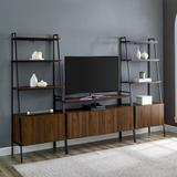 3 Piece Metal and Wood TV Console and Storage Shelves - Dark Walnut - Walker Edison GW52ARST3DW