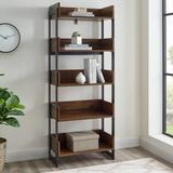 """64"""" Metal and Wood 5 Shelf Bookshelf - Dark Walnut - Walker Edison BS64MOR5DW"""