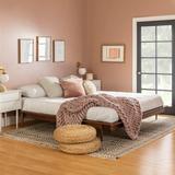 King Mid Century Modern Solid Wood Platform Bed - Walnut - Walker Edison BKMCPLATWT