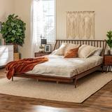 King Mid Century Modern Solid Wood Spindle Platform Bed - Walnut - Walker Edison BKSPINWT