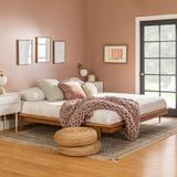 King Mid Century Modern Solid Wood Platform Bed - Caramel - Walker Edison BKMCPLATCA