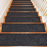 Non Slip Carpet Stair Treads, 15 PCS Non-Skid Stair Rugs Stair Carpet Runners with Reusable Adhesive for Kids Elders Kids and Pets, 8 x 30 Inch