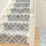 """Contemporary Gray Cream Geometric Trellis Stair Runner Durable Linier Stair Runner Rug Custom Length Width - Sold and Priced Per Foot 2' 6"""" x 35'"""