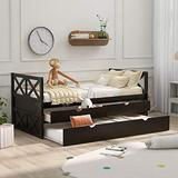 Merax Multi-Functional Daybed with Trundle and Drawers, Captain's Platform Storage Bed with Trundle Bed and 2 Storage Drawers (Espresso)