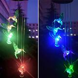 Bling Solar Hummingbird Wind Chime Color Changing Solar LED Color Changing Lights Outdoor Mobile Hanging Patio Light