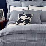 Ralph Lauren Bedding | New Ralph Lauren Lombard Houndstooth King Sham | Color: Blue/Cream | Size: King
