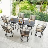 """Lark Manor™ Gaiser Square 6 - Person 27.6"""" Long Bar Height Dining Set w/ Cushions Glass/Metal in Black, Size 36.2 H x 27.6 W x 27.6 D in   Wayfair"""