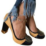 Tory Burch Shoes | Tory Burch Reva Maddie Rafia Grass Woven Heel | Color: Blue/Gold | Size: 9
