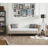 Three Posts™ Antonetta Twin Solid Wood Daybed Upholstered/Linen/Linen Blend in Blue, Size 29.0 H x 41.0 W x 88.0 D in | Wayfair
