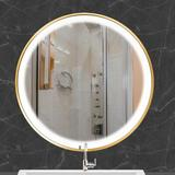 """Everly Quinn Canyonlands LED500 G 19.7""""Round Mirror For Bathroom, LED Black Circle Wall Mirror in Gold/Black, Size 1.58"""" L x 19.7"""" W x 19.7"""" H"""