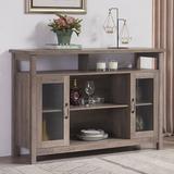 """Gracie Oaks Chidera 52"""" Wide Buffet Table Wood in Brown/Gray, Size 35.0 H x 52.0 W x 16.0 D in   Wayfair FA718544DB284D6094F03AB1FC6AA80E"""