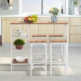 Latitude Run® 5 Piece Counter Height Dining Table Set, Industrial Style Bar Pub Table w/ 4 Backless Bar Stools For HomeWood/Metal in White | Wayfair