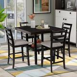 Red Barrel Studio® 5-Piece Wooden Counter Height Dining Set w/ Padded Chairs & Storage Shelving Wood/Upholstered Chairs in Black/Brown/Green Wayfair