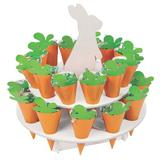 The Holiday Aisle® Hydro Easter Bunny Carrot Treat Stand w/ Cones - Party Supplies - 1 Piece Paper in Green/Orange | Wayfair 13936601