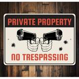 Lizton Sign Shop, Inc Private Property No Trespassing Sign Aluminum in Black/Gray/Red, Size 10.0 H x 14.0 W x 0.04 D in | Wayfair 4555-A1014