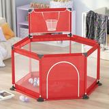 Blue Carve Baby Playpen Play Center Yard Indoor Outdoor Newborn Baby Fence For Toddlers (Balls Not Included) Metal, Size 25.6 H x 45.3 W x 45.3 D in