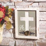 The Holiday Aisle® Religious Easter Cross Wall Sign - Home Decor - 1 Piece in Gray/White, Size 10.0 H x 8.0 W x 1.5 D in | Wayfair