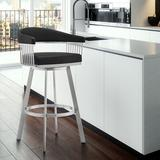 Wade Logan® Robinett Swivel Counter & Bar Stool Plastic in Gray/Black, Size 34.0 H x 22.0 W x 21.0 D in | Wayfair B21C0761EEA442C5B308AD4608AD3A12
