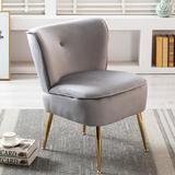 Everly Quinn Accent Living Room Side Wingback Chair Pair Velvet Fabric Upholstered Seat Chairs Occasional Bedroom Leisure ChairsVelvet in Gray
