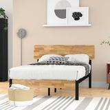 Zipcode Design™ Ursula Platform Bed Wood/Metal in Brown, Size 41.0 H x 54.0 W x 75.0 D in | Wayfair ZPCD4655 42665800
