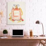 Mercer41 Love Text Over Pink Floral Perfume Bottle Canvas & Fabric in White, Size 48.0 H x 36.0 W in | Wayfair E73FB17E67804A10BAC6B57323FEEBBC