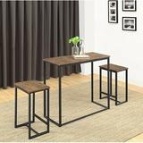 Union Rustic SaintCroix 3 - Piece Counter Height Dining Set Wood/Metal in Brown, Size 34.25 H x 15.75 W x 39.25 D in   Wayfair