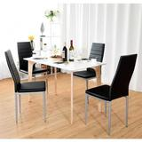 Latitude Run® 4 Pcs PVC Leather Elegant Design Dining Side Chairs in Black, Size 38.5 H x 16.0 W x 20.0 D in   Wayfair