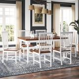 """Delacora HM-176-C327-DININGSET Casual 7 Piece Dining Set - with 59"""" Long Dining Table and 6 Seats"""