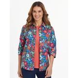 Women's Plus Fiesta Print Three-Quarter Sleeve Shirt, Summer Floral 3XL