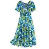 Women's Crinkle Cotton Dress, Classic Blue Tropical M Misses
