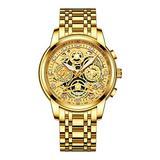 Top Luxury Men Chronograph Watches Gold Fashion Calendar Quartz Male Stainless Steel Watch (Gold Gold)