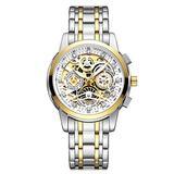 Top Luxury Men Chronograph Watches Gold Fashion Calendar Quartz Male Stainless Steel Watch (Gold White)