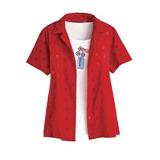 Women's Eyelet Embroidered Twinset, Classic Red S Misses