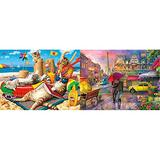 """Buffalo Games - Beachcombers - 750 Piece Jigsaw Puzzle Multicolor, 24"""" L X 18"""" W & Games - Cities in Color - Raining in Paris - 750 Piece Jigsaw Puzzle Red, Green,Yellow, 24"""" L X 18"""" W"""