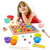 Wooden Peg Board Beads Game,Wooden Go Games Set Dots Shuttle Beads Board Games Rainbow Clip Beads Puzzle of Wooden Clip Beads Rainbow Toy Early Education Puzzle Board Game for Kids
