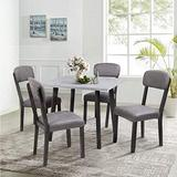 GAOPAN 5 Piece Metal Frame, Mid-Century Wood Table and 4 Padded Chairs Set for Small Place/Kitchen Dining Room, Gray