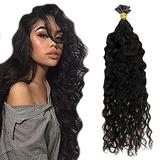 RUNATURE Keratin Hair Extensions Nail Tip Color 1B Off Black 14 Inch Prebonded Hair Extensions Fusion Human Hair ExtensionsHuman Hair Fusion Human Hair Extensions for Thin Hair