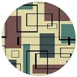Round Area Rugs 5 ft Geometric Square Retro Style Soft Floor Carpets Indoors/Outdoor Living Room/Bedroom/Children Playroom/Kitchen Mats Non Slip Yoga Carpets