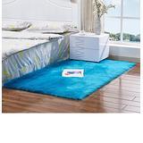 Living Room Bedroom Rugs, Soft Faux Sheepskin Area Rug Shag Runner Fluffy Rug Silky Plush Rug Room Decoration Rug Heavy and Thick Fur Rug,Dark Blue,2x3ft Sofa Mat