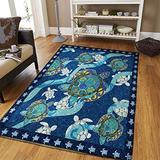 Blue Sea Turtle Pattern Print Area Rug Area Rug Fluffy Anti-Skid Rug Floor for Living Room Outdoor Modern Area Rugs Comfy Cute Floor 2x3 3x5 4x6 5x8 Area Rug