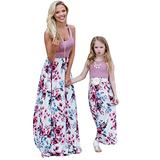 YMING Mommy and Me Casual Floor Length Dress Mother and Daughter Matching Swing Dress Purple Flower 9-10 Years