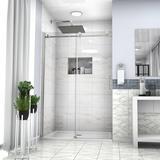 "JUNTOSO Shower Door 48"" W X 76""H Semi-Frameless Shower Door Tempered Glass in Gray   Wayfair DDHRB6A21-48CH"
