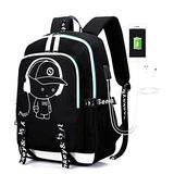 School Backpack ,Anime Luminous Noctilucent School Bags Daypack, Waterproof USB Chargeing Port Laptop Backpack Tech Bookbag Work Bag,Boys Backpack bookbags for boys Backpacks for School backpacks for teens Backpack Purse For Women (Black)
