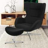 Flash Furniture Black Fabric Swivel Wing Chair and Ottoman Set