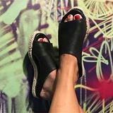 HEASRA Sandals Women's Summer Leather Soft Bottom Fish Mouth Shoes Casual Outdoor Walking Shoes Comfortable Open Toe Flat Women's Sandals Anti Slip Sandals,001,43EU