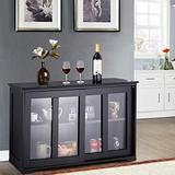 Topment Kitchen Storage Sideboard, Wooden Storage Cabinet w/Adjustable Shelf, Console Table w/ 2-Level Cabinet, Sideboard Buffet Cabinet w/Glass Sliding Doors, for Home Kitchen (Black)